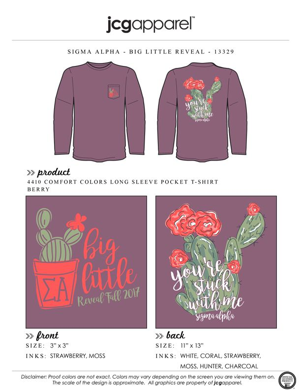 JCG Apparel : Custom Printed Apparel : Sigma Alpha Big Little Reveal T-Shirt #sigmaalpha #sa #big #little #lil #sis #reveal #yourestuckwithme #cactus #cacti #handdrawn #biglittlereveal