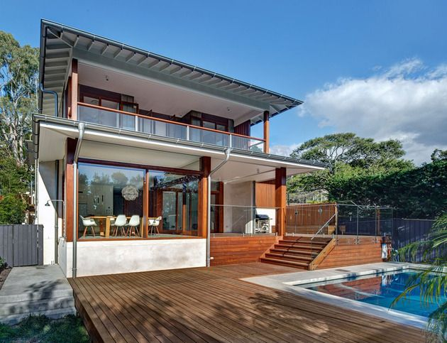 Australian Home With Spotted Gum Wood Details and Pool Woods