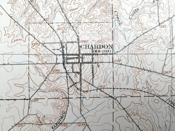 Antique Chardon Ohio 1906 Us Geological Survey Topographic Map