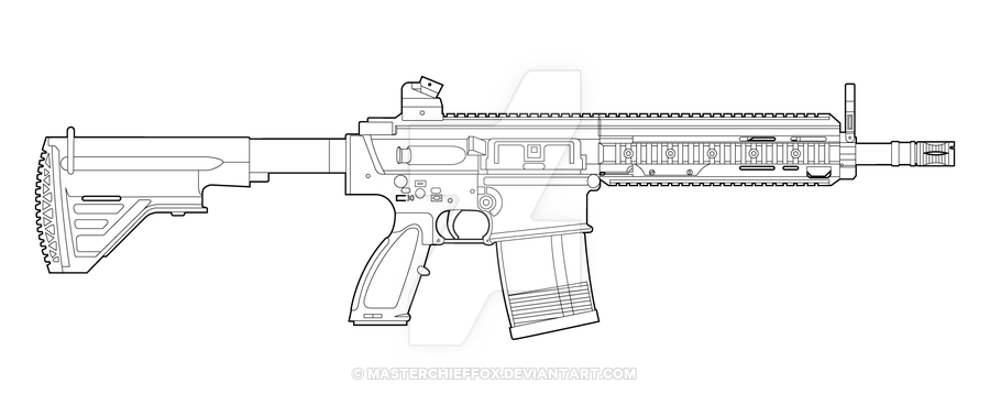 HK417 Lineart by MasterChiefFox.deviantart.com on