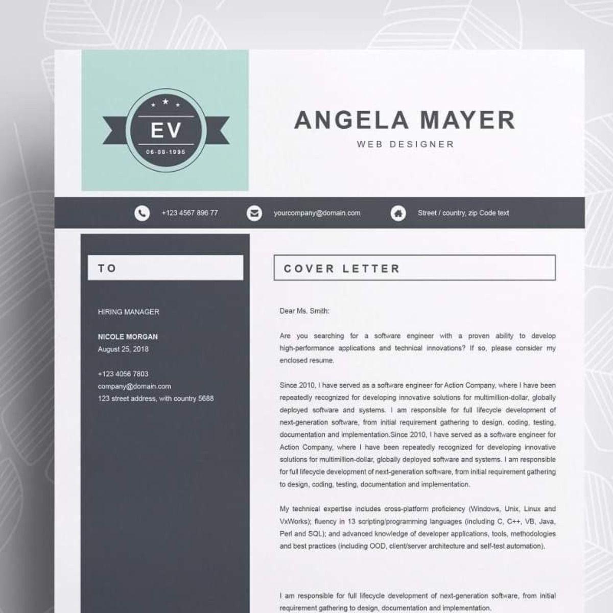 Angela Créatif CV et lettre de présentation Modèle cv