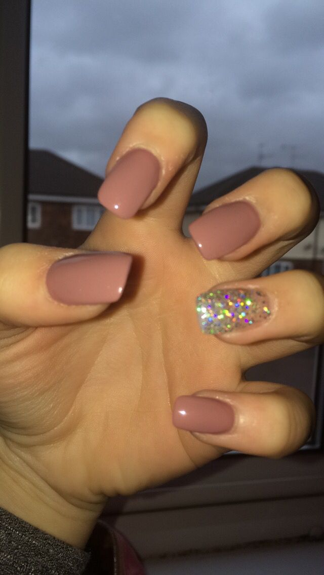 My nude/pink and silver square oval acrylic nails