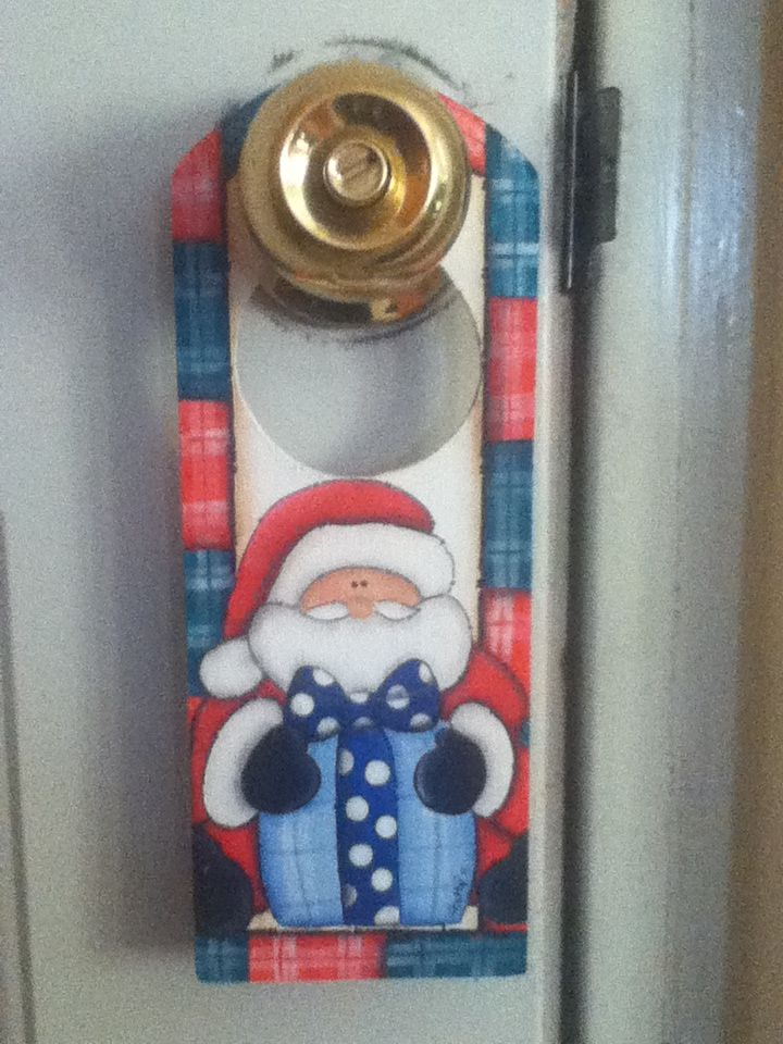 Picaporte santa merry christmas ditta arte y dise o navidad manualidades navidad y madera - Arreglo de puertas de madera ...