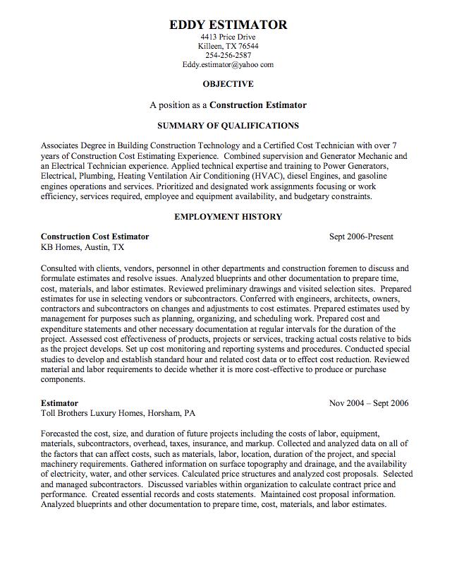 Construction Estimator Sample Resume Examples Resume Cv