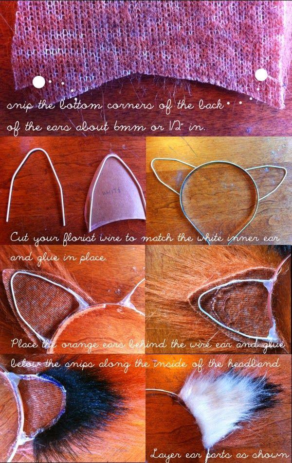 DIY No-Sew Fox Ears http://bitsfashion.blogspot.ca/2013/10/diy-no-sew-fox-ears.html -   24 diy costume fox ideas