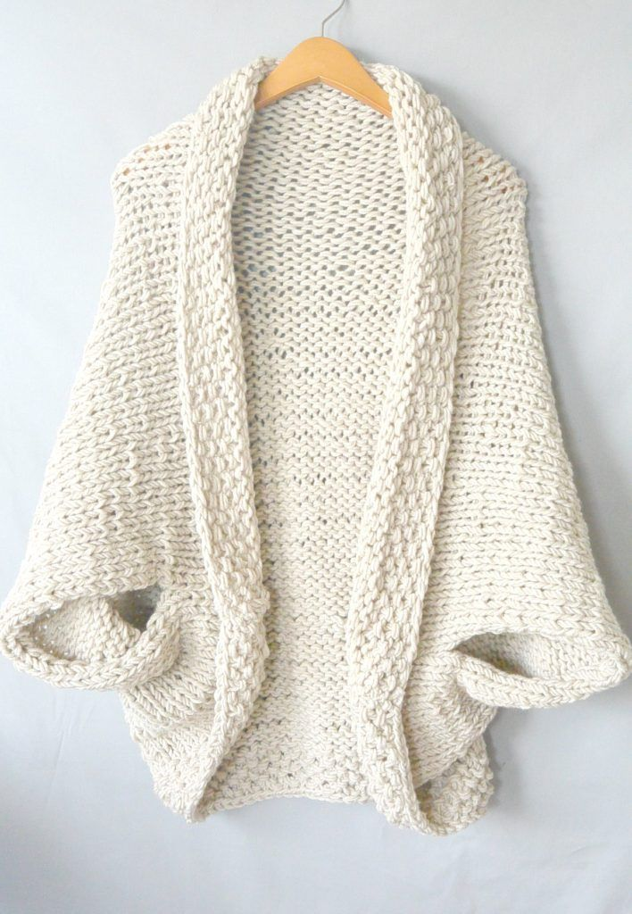 Knitting Cardigan Design : Easy knit blanket sweater free pattern on http