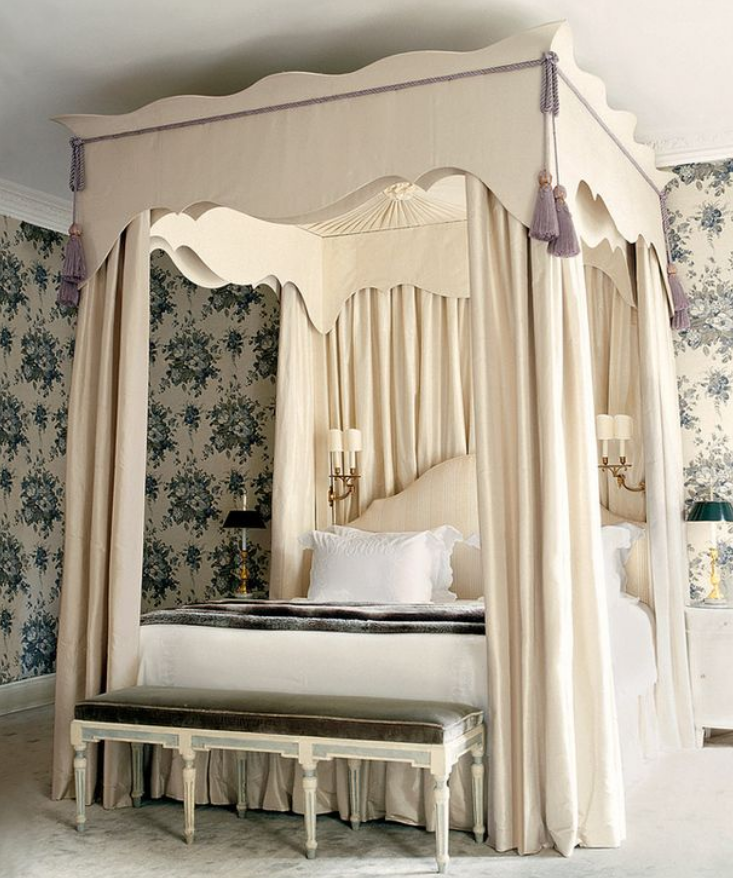 From The Luxurious Cream Bed Canopy W/ Light Blue Accents To The Opulent  And Ornate