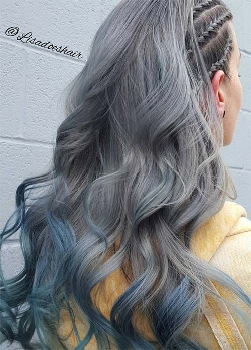 Granny Silver/ Grey Hair Color Ideas: Silver Hair With Blue Tips ...