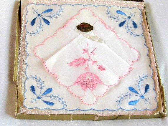 Vintage Handkerchiefs Hankies Swiss Embroidered Bridal Lace Original Box Blue Pink Gift Ladies Women's