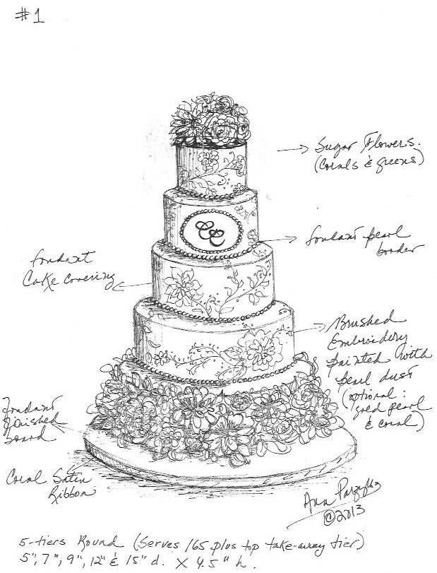sketches of wedding cakes custom wedding cake sketch by parzych cakes www 20176