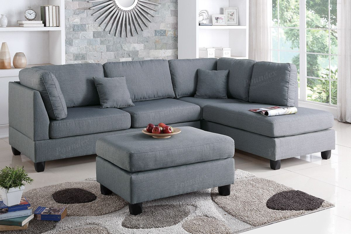 Poundex 3 Pcs Sectional Sofa Set F7606Description :Experience Simplicity  With This 3 Piece Sectional With A Matching Ottoman.