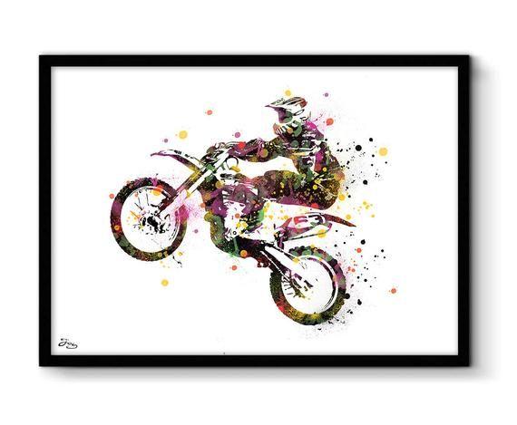 Motocross Poster Art Print Silhouette Biker Birthday Black And