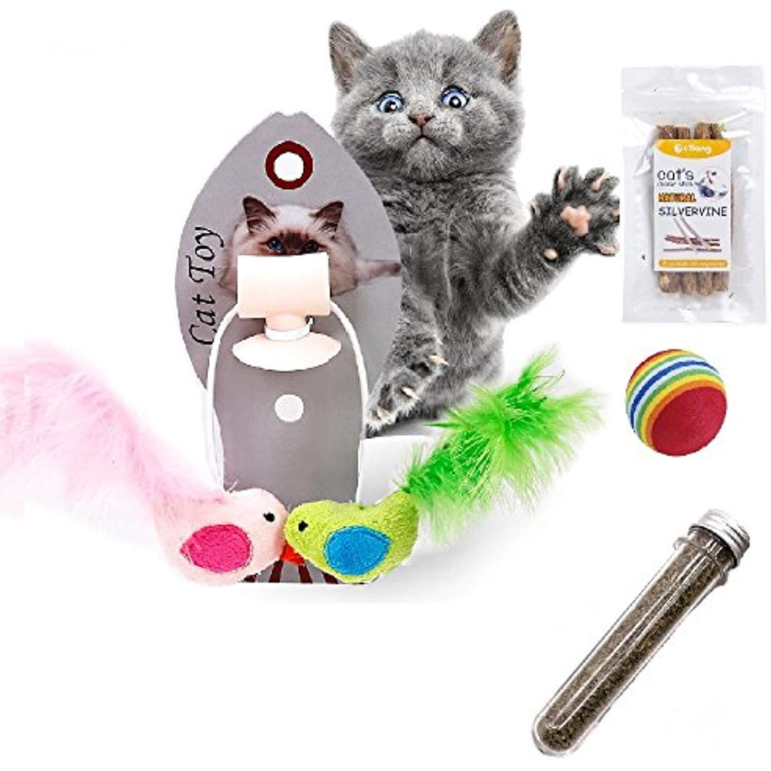 Afuby Wall Playing Catnip Toys Silvervine Cat Catnip Sticks Cat Feather Toys Cat Rainbow Ball Best Interactive Cat Toys Homemade Cat Toys Interactive Cat Toys