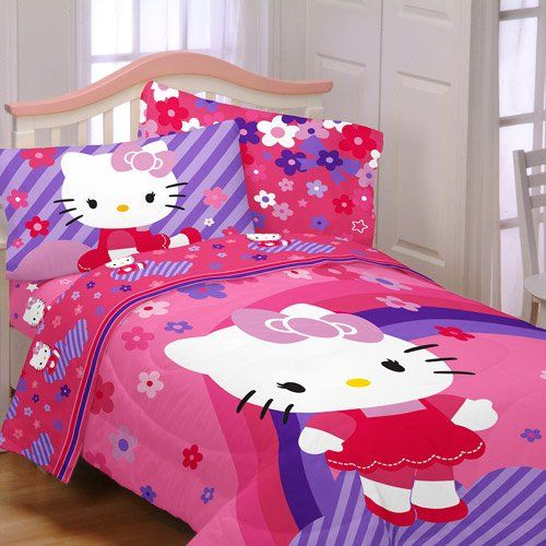 Hello Kitty Raining Flowers Full Bedding Collection Comforter Sheet Set     For More Information, Visit Image Link.
