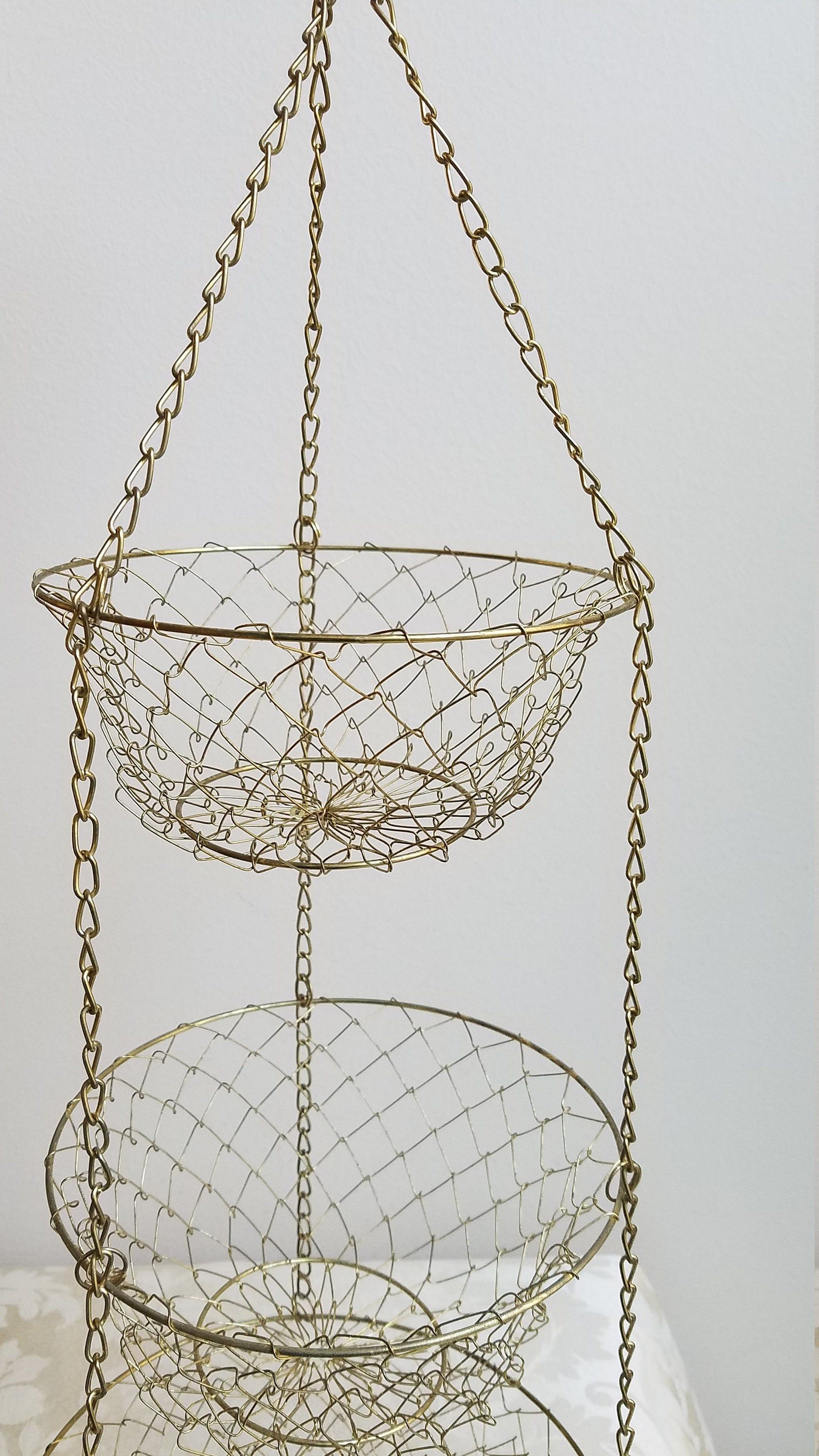 Vintage Gold Metal Three Tier Hanging Baskets Wire Mesh With Chain Collapsible French Style For Frui Hanging Metal Baskets Fruit And Vegetable Storage Hanging