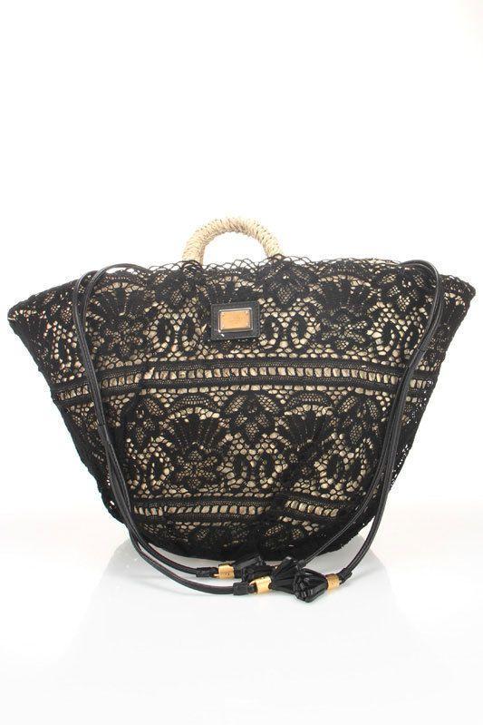 Dolce   Gabbana Coffa Pizzo Shopping Bag In Black   Style - Fashion ... 34246660fbd