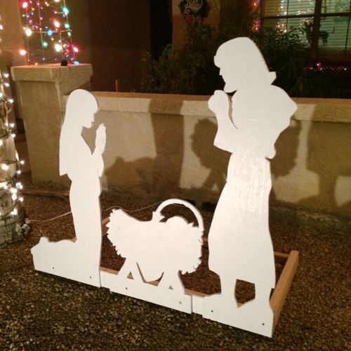 Nativity Scene Outdoor Christmas Decoration: Nativity Scene Yard Silhouette Pattern. DIY Manger Scene
