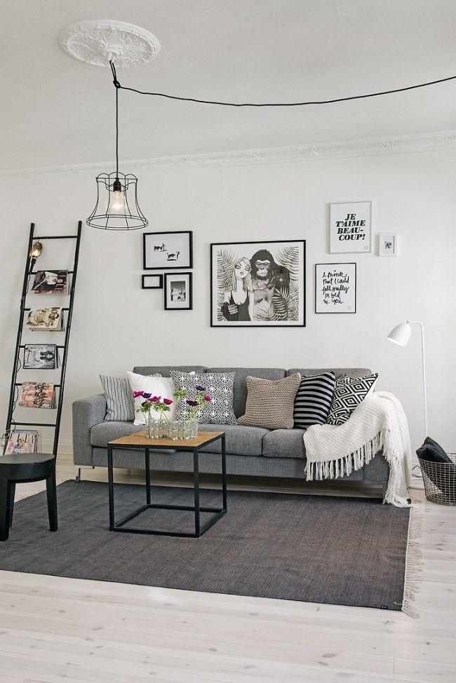 Black And White, Frames, Ladder, Grey Sofa, Clean