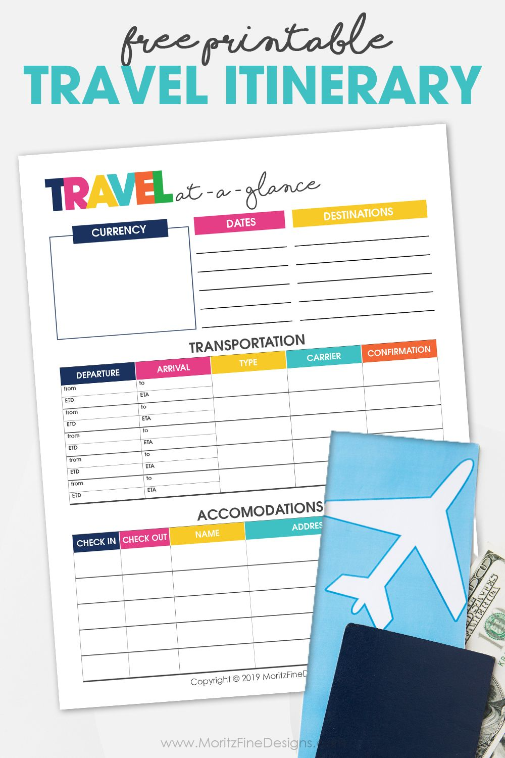 Printable Travel Itinerary Planner Itinerary planner