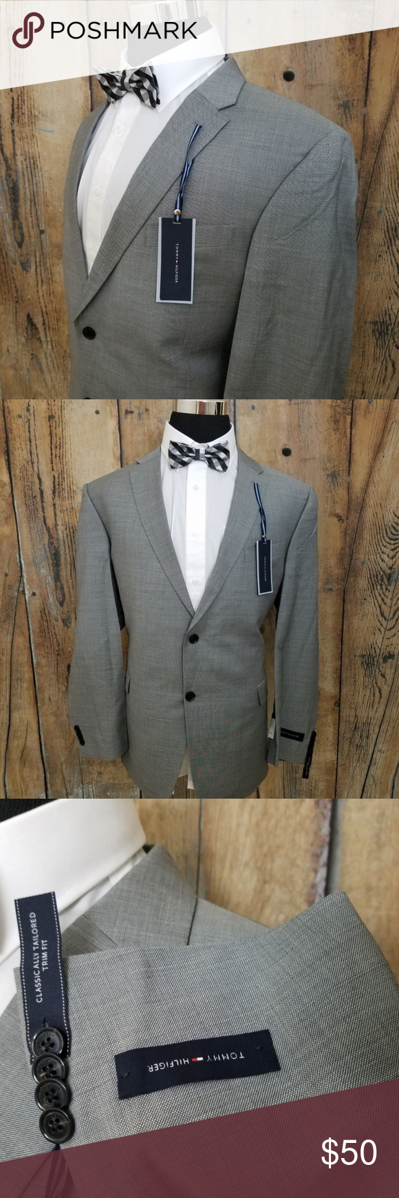 NEW Tommy Hilfiger Sport Coat Mens 100 Wool Grey Brand