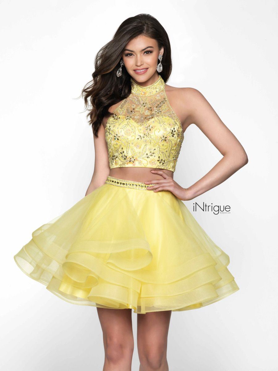 Intrigue By Blush 471 Is A Two Piece Short Party Dress With A Sleeveless Embellished Crop Top With A High Halter Blush Prom Dress Dresses Prom Dresses Yellow [ 1200 x 900 Pixel ]