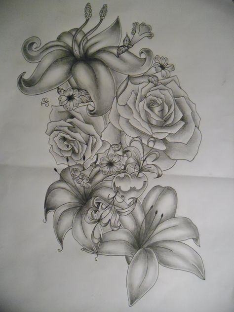 flowers tattoo design by tattoosuzette.deviantart.com