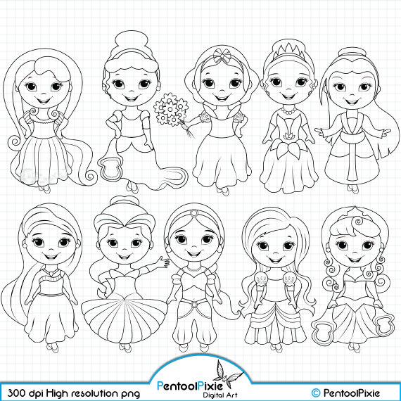 Little Princesses Digital Stamps Princess Stamps Fairytale Etsy In 2021 Digital Stamps Disney Princess Coloring Pages Digi Stamps