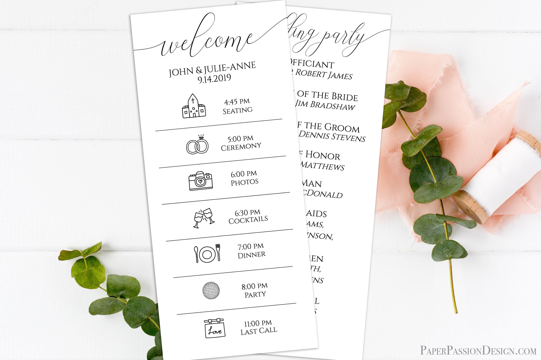 Wedding Day Order Of Events Program Printable Wedding Day