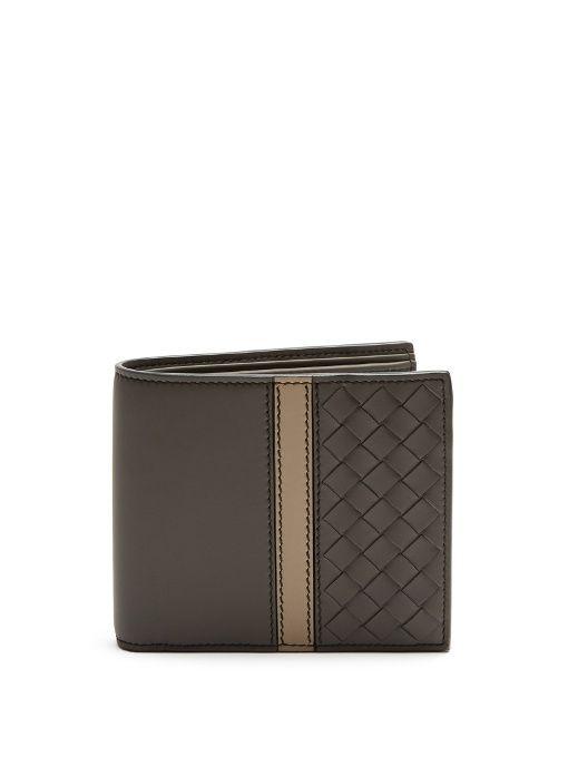 Bottega Veneta Intrecciato Panel Bi Fold Leather Wallet In Taupe Grey Modesens
