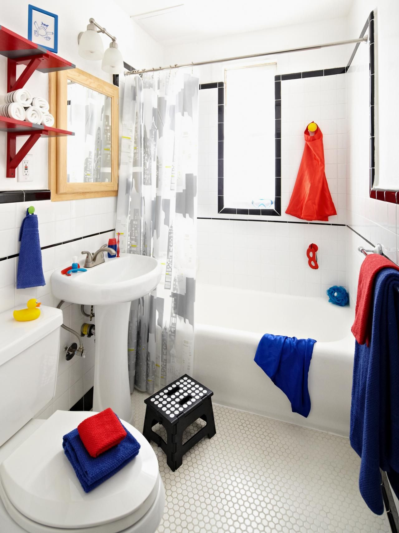 Superhero-Inspired Boys\' Bathroom | Bathroom designs and Bedrooms