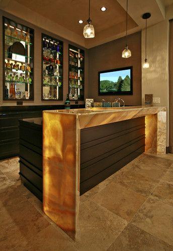 Wet Bars Contemporary Media Room