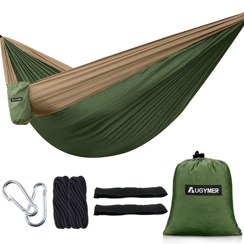 Medium image of augymer camping hammock double portable lightweight 2 person parachute hammock with tree straps up 600lb