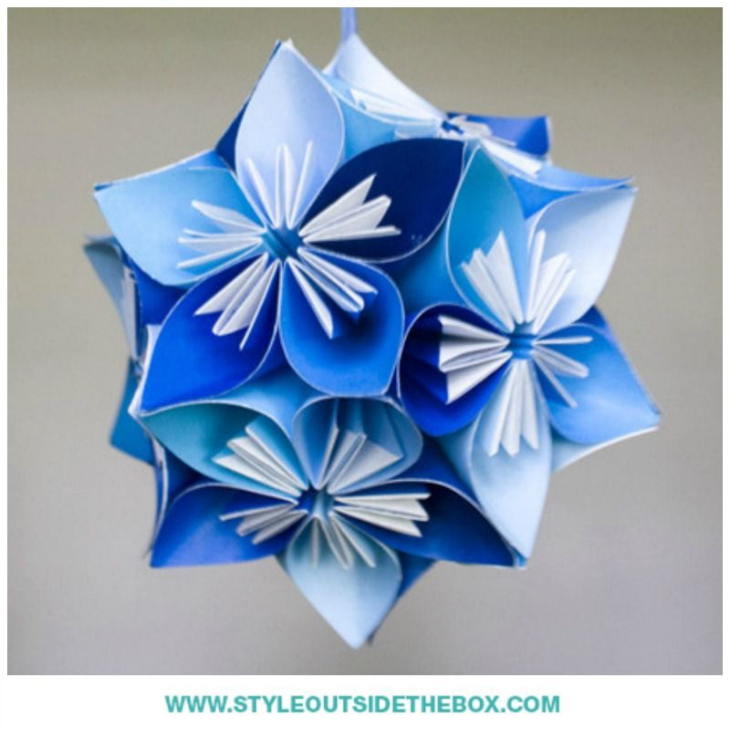 This small kusudama origami flower ball consists of different shades this small kusudama origami flower ball consists of different shades of blue origami paper they mightylinksfo Gallery