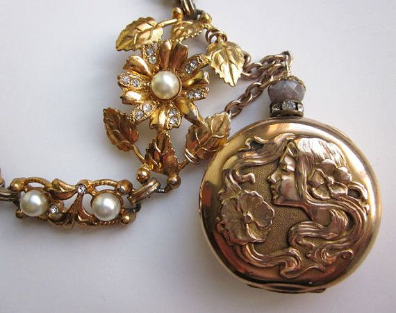 Purely one-of-a-kind Art Nouveau Vintage Pocket Watch Repurposed Assemblage Necklace by jryendesigns.etsy.com