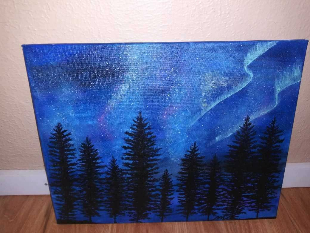Acrylic Hand Painted Stretched Canvas Painting Large Sealed