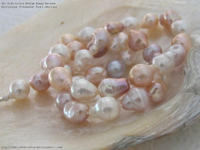 High Lustre Medium Bumpy Baroque Multicolour Freshwater Pearl Necklace Pearls Freshwater Pearl Necklaces Pearl Necklace