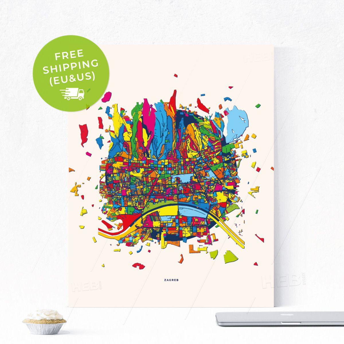 Zagreb Croatia Colourful Creative City Map Poster Exploding Map Confetti Map City Map Poster Map Poster City Map