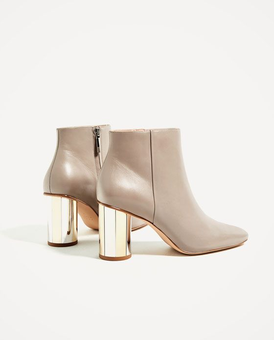 Image 6 of LEATHER ANKLE BOOTS WITH METAL HEEL from Zara
