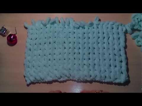 узор из скрещенных петель для пряжи Puffy Alize вяжем руками