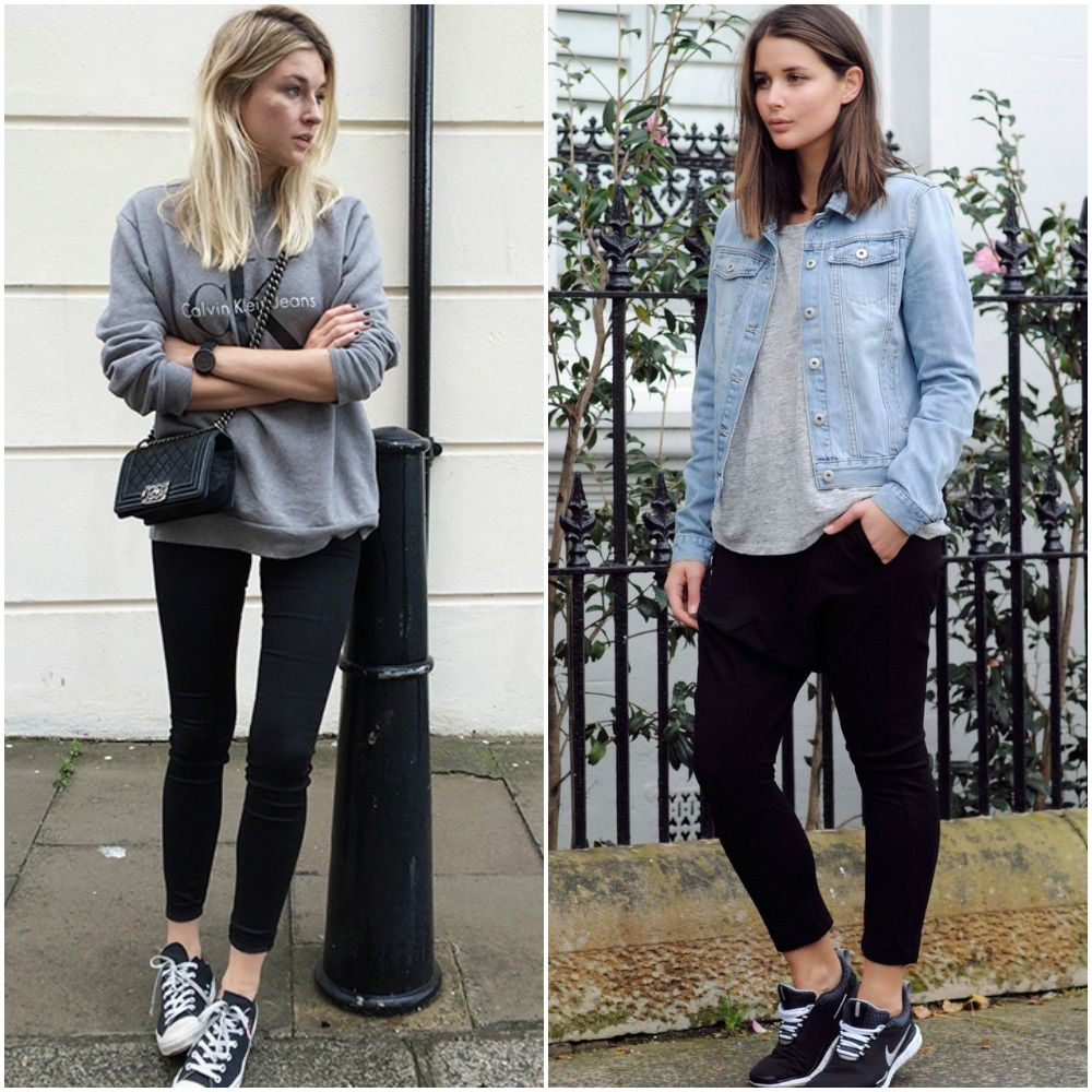 Black jeans with white trainers