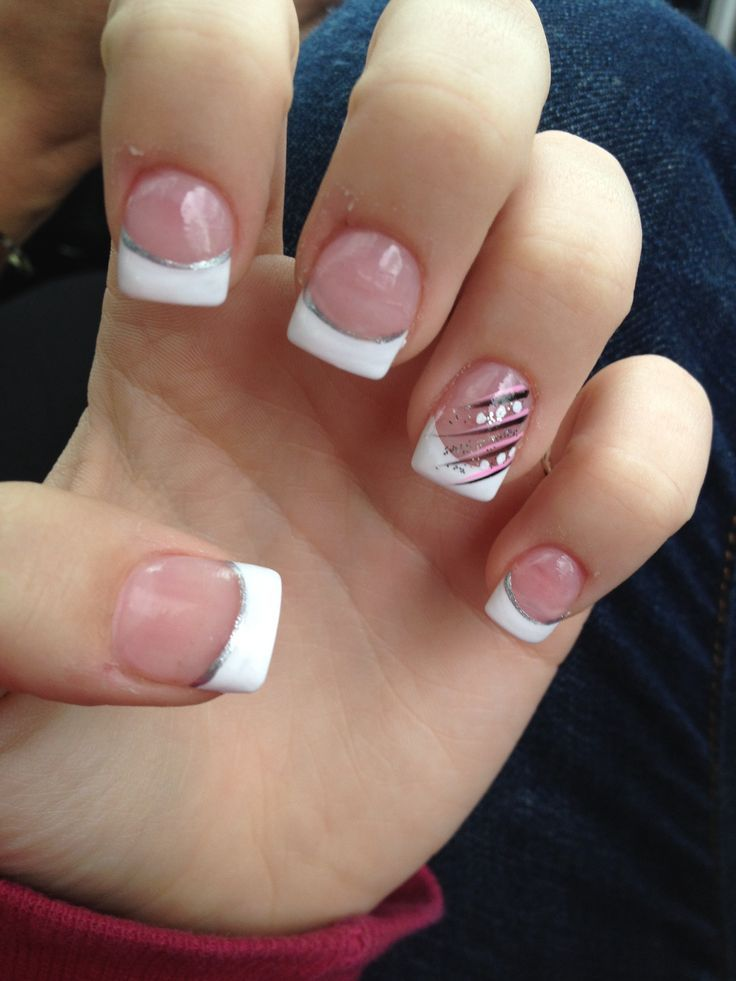 Acrylic French Nail Tips - French Tip Nails With Color - Http://www.mycutenails.xyz/french