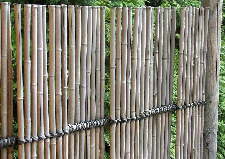 Filigraner, blickdichter Sichtschutzzaun aus Bambus 裏庭, 塀