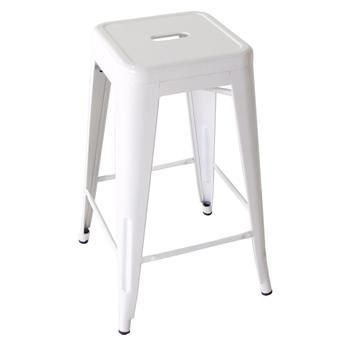 Bouchon French Industrial White Backless Cafe Counter Stool - Set of 4 #frenchindustrial