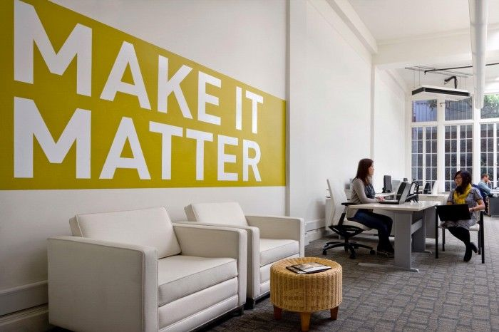 Taproot Foundation\'s New Office - company moto on the wall as a ...