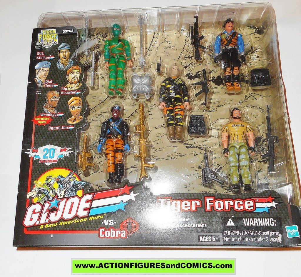 Gi joe TIGER FORCE jinx big brawler firefly wreckage stalker dial tone action figures mib moc