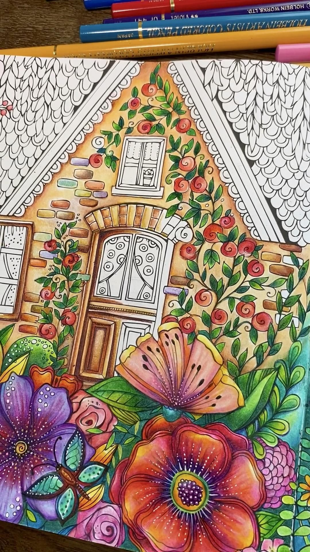 #meinsommerspaziergang #coloring #coloringforadults #lovetocreate #flowers #summerfeels #vacation #ritaberman #coloredpencildrawing