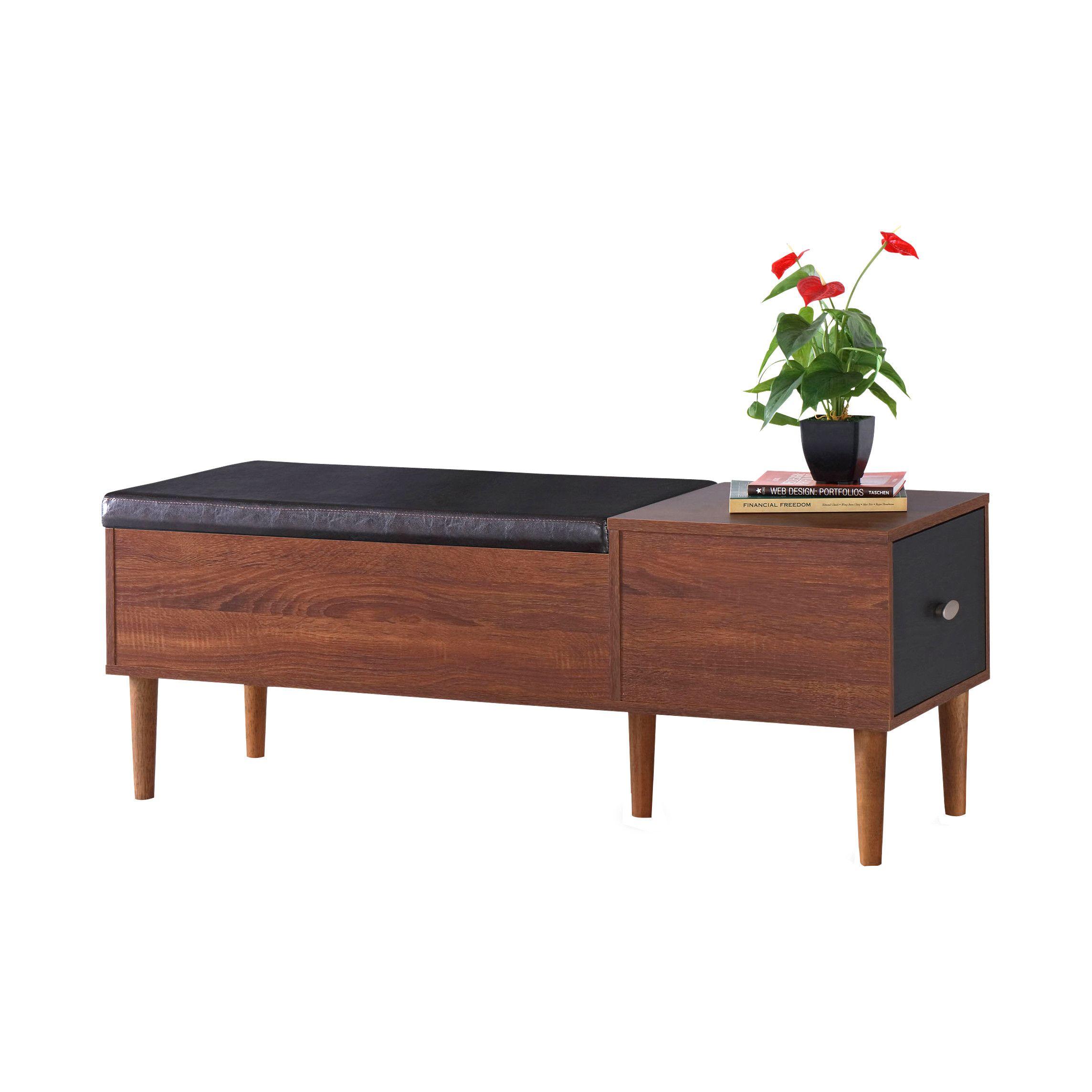 Ardina Wood Storage Bench Wood Storage Bench Upholstered Storage Bench Entryway Bench Storage