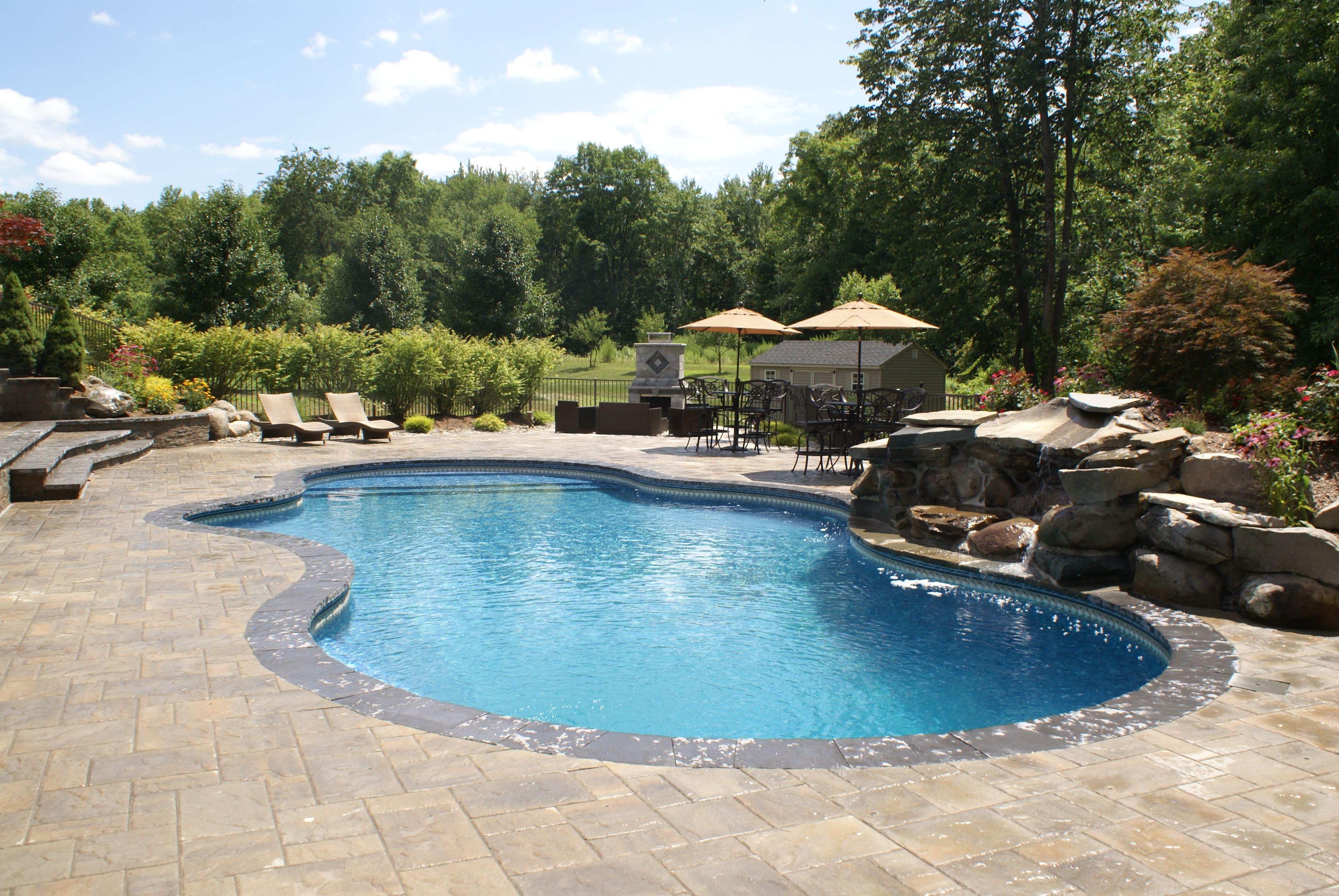Lagoon Swimming Pool Designs: Freeform Lagoon Pool With Paver Patio, Hand Built