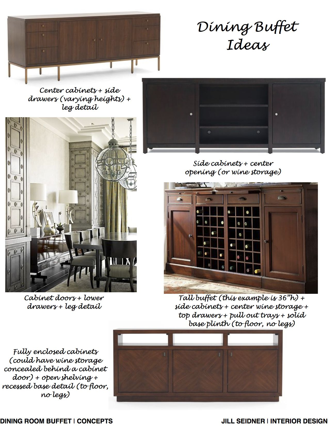 Belmont Shores CA Residence Custom Dining Room Buffet Ideas Concept Board JSInteriorDes