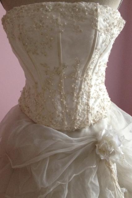 Robe de mariée - Vintage en satin, organza